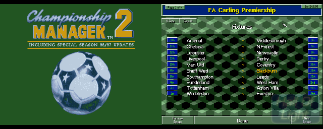 Championship Manager 2 Including 96/97 Season Updates - Double Barrel Screenshot